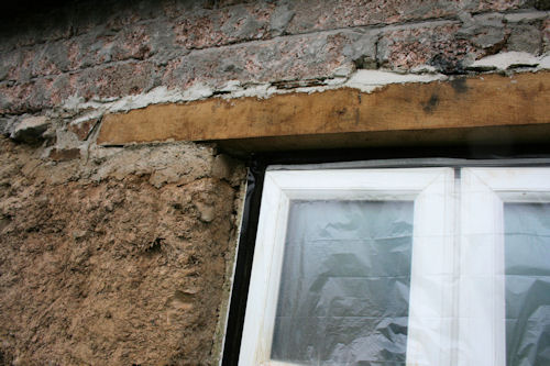 Cob And Stone Cottage With New Green Oak Lintel Bedded In