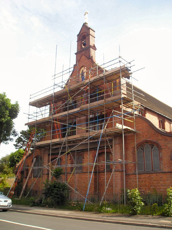 Greek church traditional mosaic scaffolding